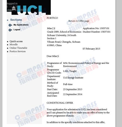 伦敦大学学院能源环境经济与政策理学硕士offer